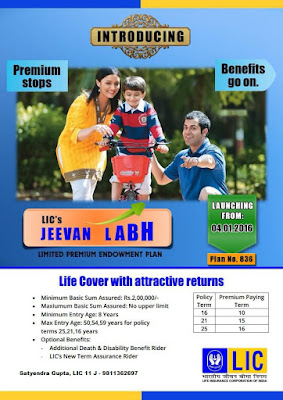 LIC NEW ENDOWMENT PLAN JEEVAN LABH Table No 836