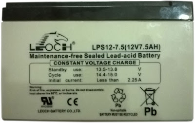 12 V 7.5Ah Sealed Lead Acid Battery by Leoch Battery