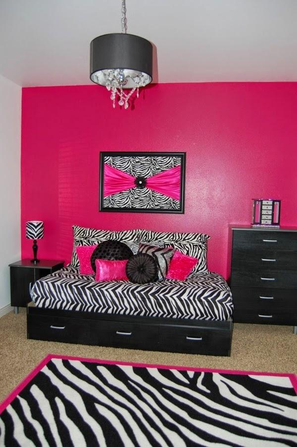 dormitorio color negro y rosa