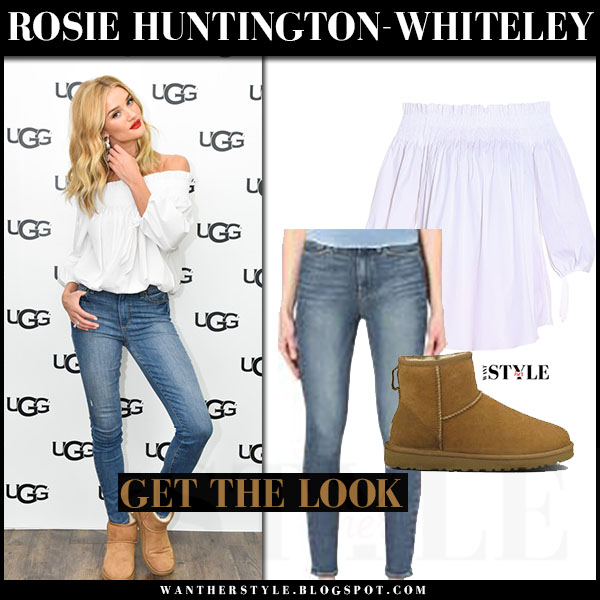 Rosie Huntington-Whiteley in white off shoulder top caroline constas, skinny jeans and brown boots ugg what she wore