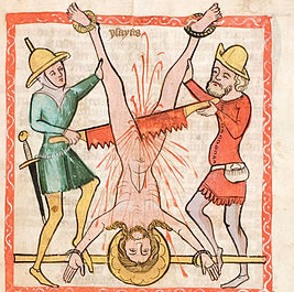 Circa 1360 Illustrationin Speculum Humanae Salvationis  Universitäts- und Landesbibliothek Darmstadt,  This prophet's death by sawing is detailed in the 3rd century .