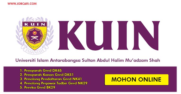 Iklan Jawatan Universiti Islam Antarabangsa Sultan Abdul Halim Mu'adzam Shah