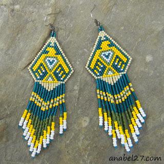 необычные индейские серьги купить в интернет магазине авторские изделия из бисера