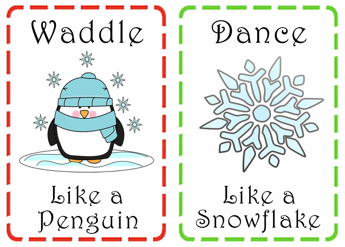 Action Cards For Preschoolers