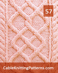 Cable Panel 57. Knit with 48 stitches and 28-row repeat. Techniques used: K1 and P1 Through the back loop, 2/2 right cross, 2/2 left cross, 2/2 right purl cross, 2/2 left purl cross.