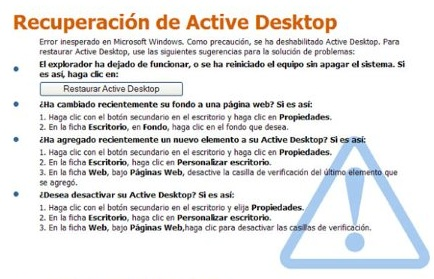 solucion restaurar active desktop windows xp