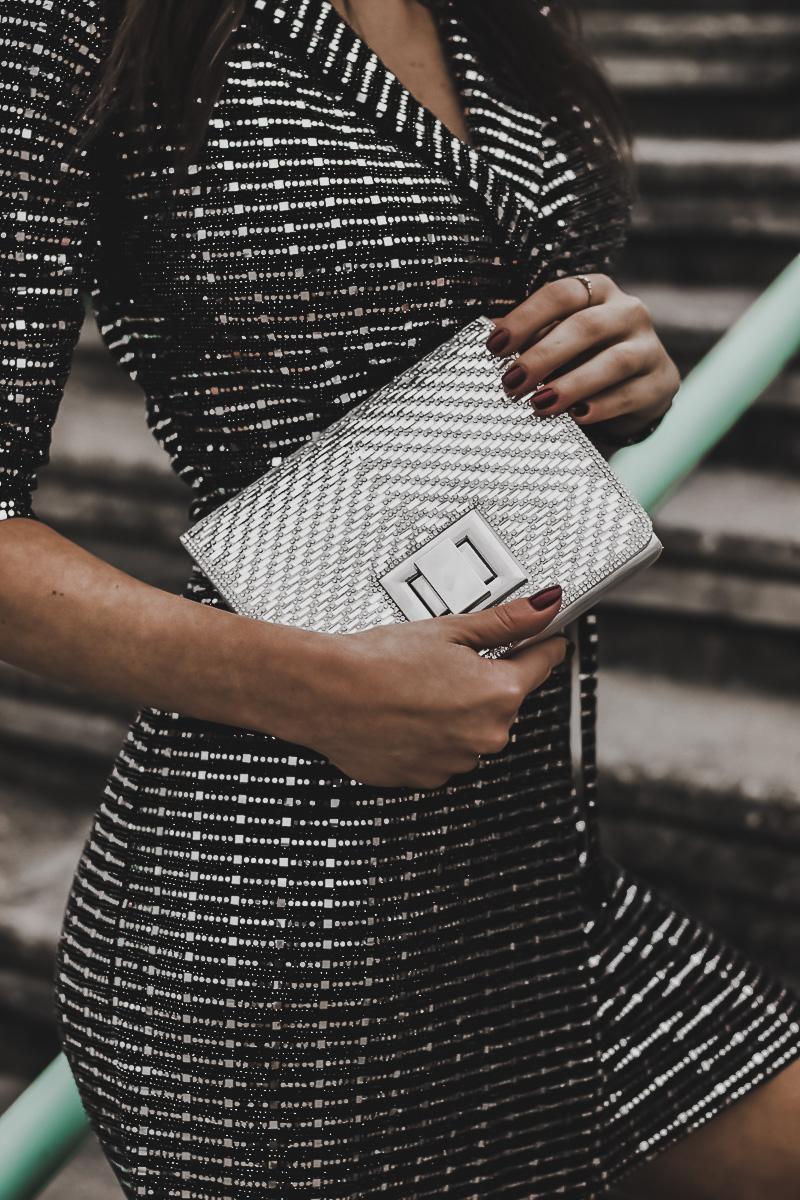 silver dress - bolso plateado para fin de año