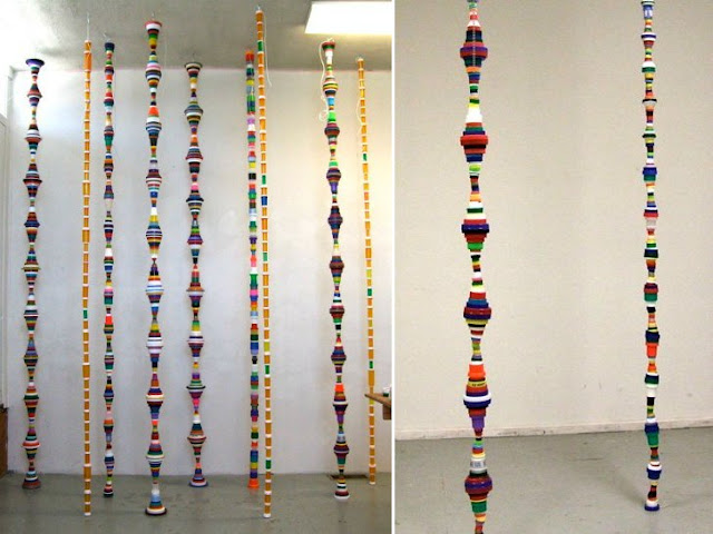 Photo of columns made from recycled materials