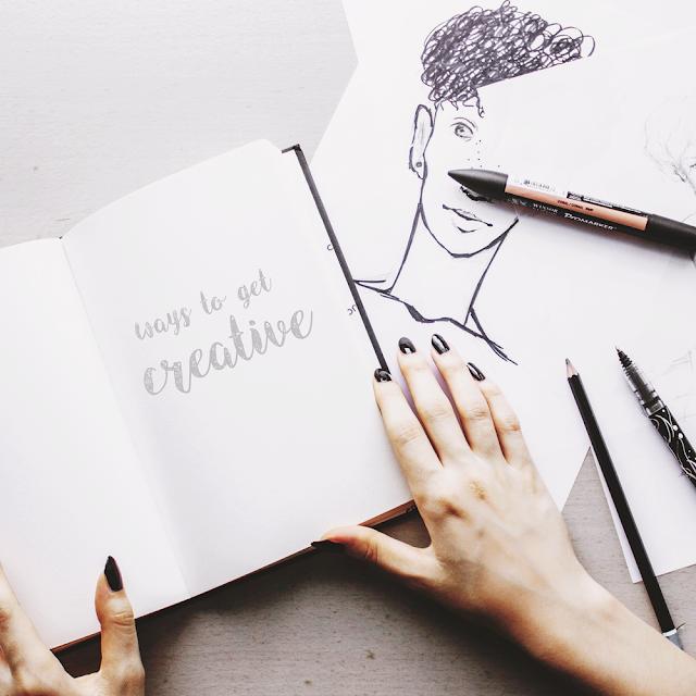 blokada twórcza, rysunek, flat lay, paznokcie, dłonie, promarkery, creative, pomysły, pomysłowość, czarne paznokcie, zadbane dłonie, szkic, kontury, sposoby na kreatywność, kreatywność