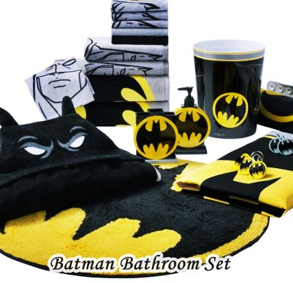 Batman Bathroom Set Shower Curtain, Rug, Towel Acc