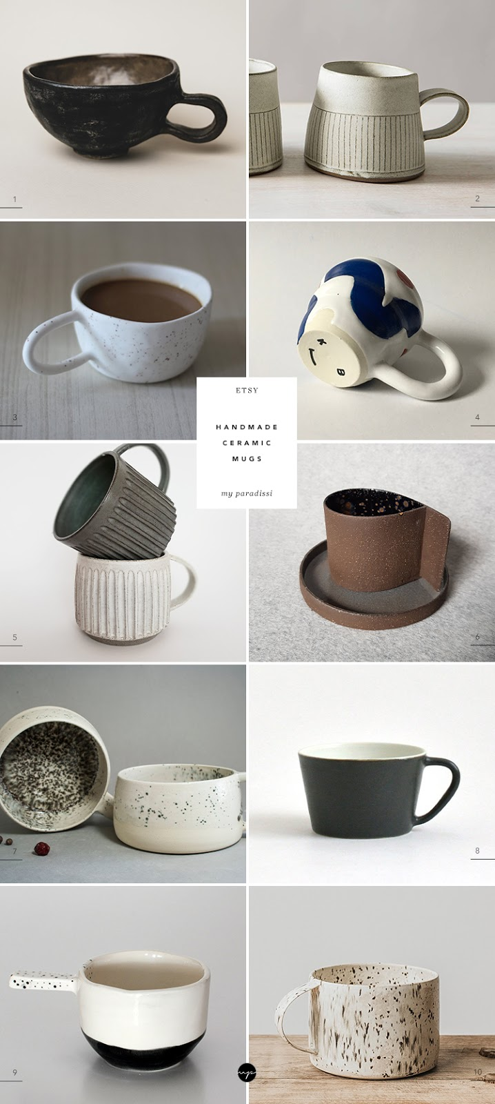 10 best handmade ceramic cups from Etsy by Eleni Psyllaki for My Paradissi