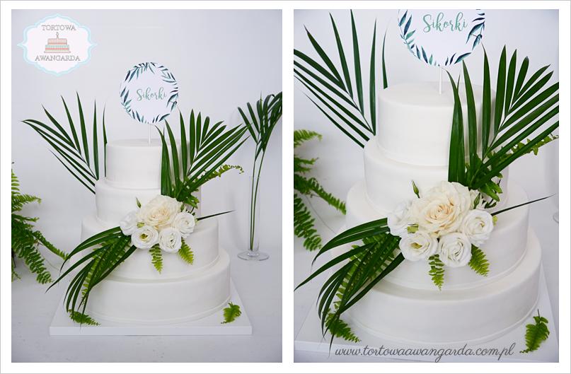 tort weselny liście palmy greenery wedding cake topper
