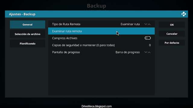 Activamos Backup para crear copia local