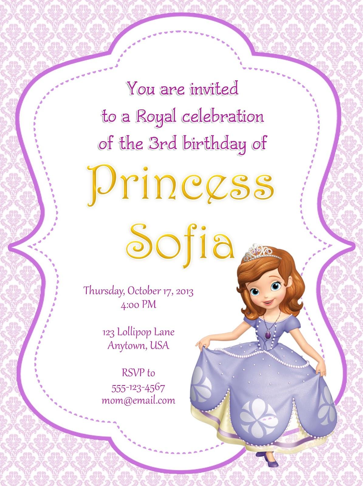 I Make Share Sofia The First Party Invitations