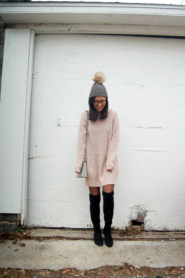 Dusty Pink Sweater Dress Over Knee Boots