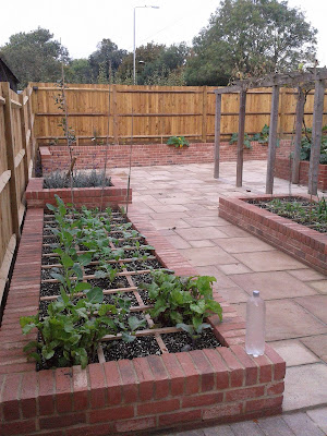 Garden Square Foot vegetable beds planted