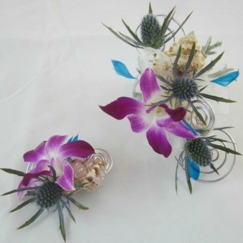 -Client connection- Blue Ocean Wrist corsage and Boutonniere by Lori Kunian CFD