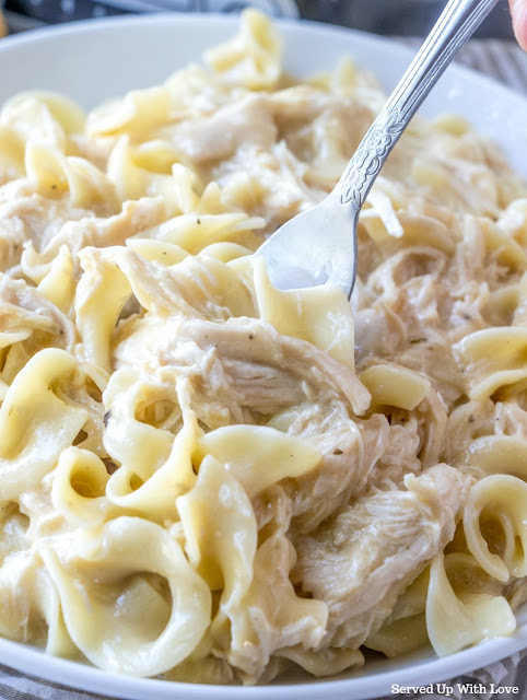 Crock Pot Chicken and Noodles recipe from Served Up With Love