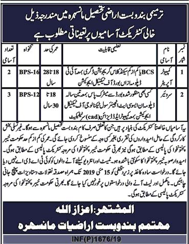 Govt Jobs in Mansehra As Computer Operator, Surveyor