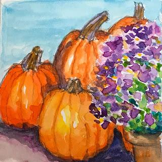 watercolor, pumpkins, autumn