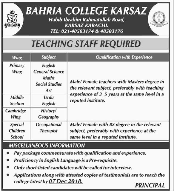 #Jobs - #Career_Opportunities - #Job Opportunities -Teaching Staff Required to Bahria College Karsaz Karachi