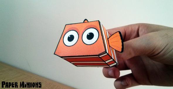Papercraft imprimible y armable de Nemo pez payaso de la película de Disney. Manualidades a Raudales.