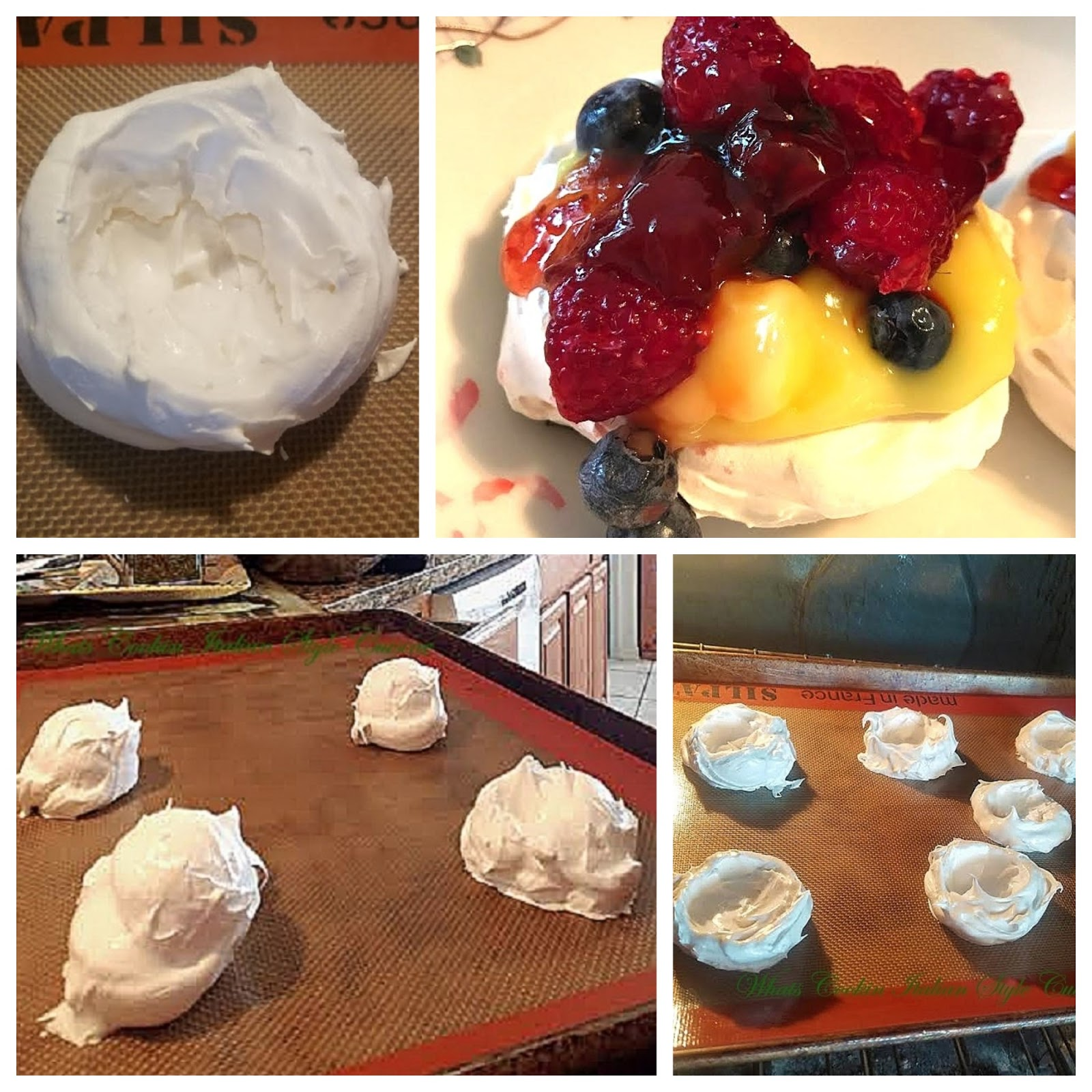 Meringue Cups are a dessert cup filled with delicious fresh fruits and an elegant dessert love in calories to serve guests.meringue whipped into cups, baked and ready to fill with frresh fruit or lemon curd filling. These are on silpat mat to keep from sticking