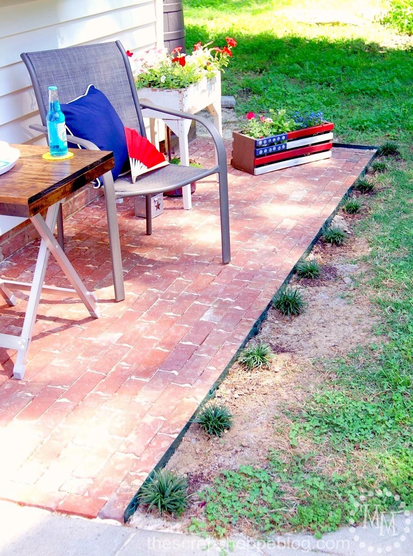 how to build a brick patio - brick patio final look