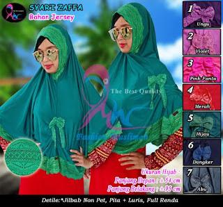 Jilbab luris terbaru bahan jersey model syari pita renda