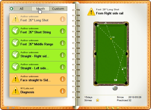 Changed view range to month, billiard exercise diary, Billiard Practice Software
