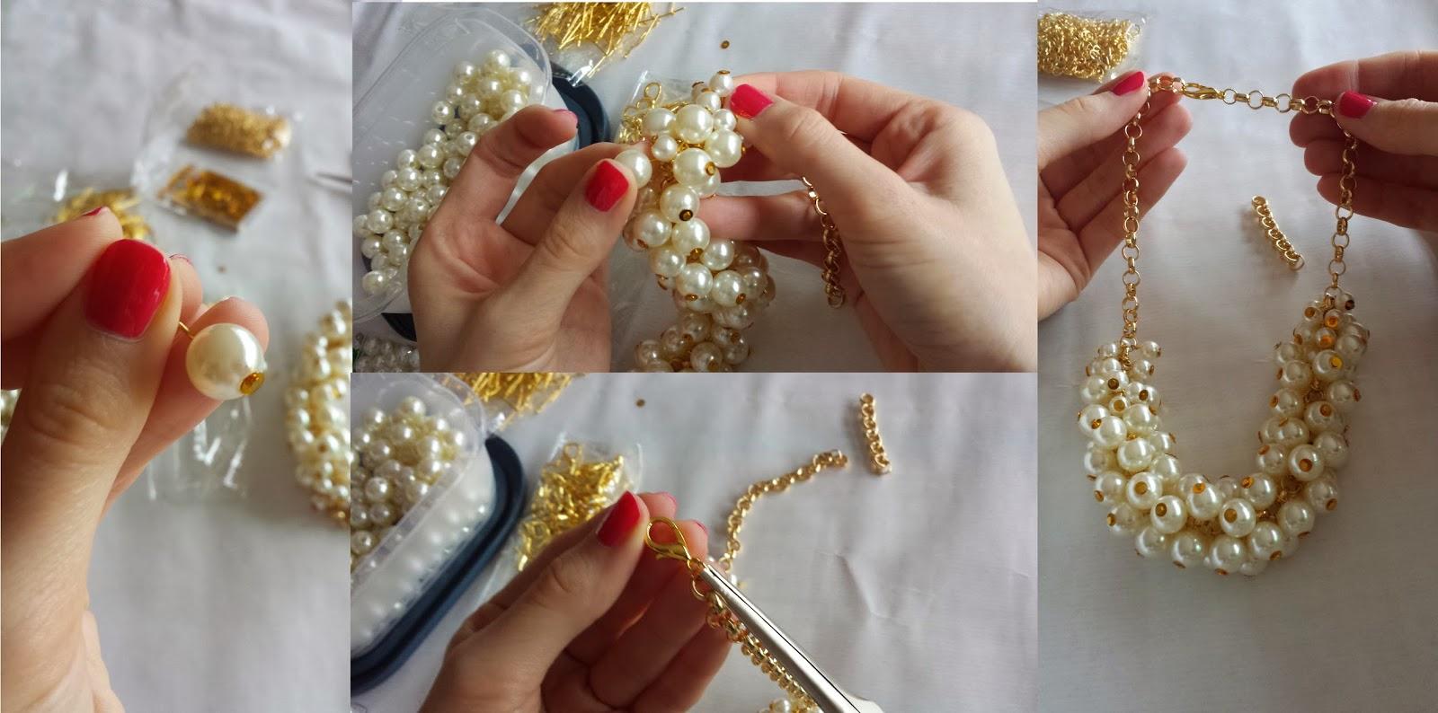 Infografía collar de perlas tonos dorados