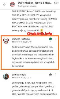 komentar apk daily khaber scam