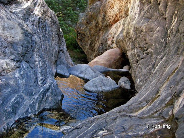 The upper reaches of Eaton Canyon feature granite narrows, sculpted by centuries of water.