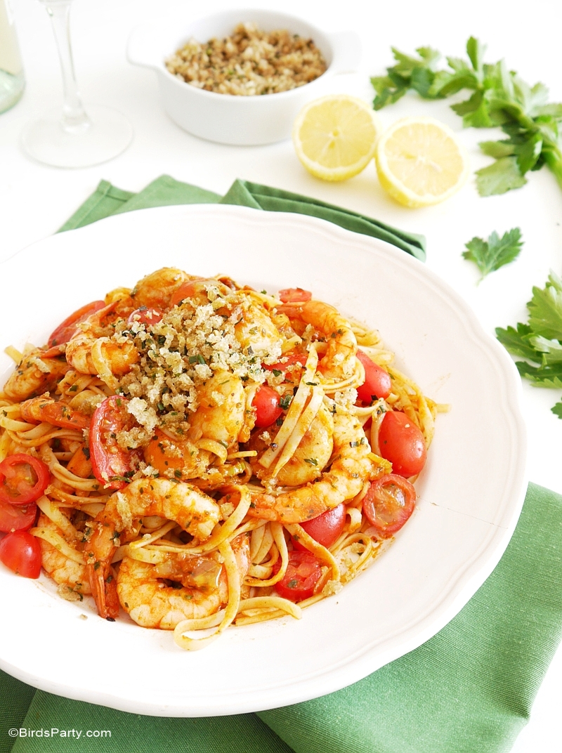 Bloody Mary Inspired Seafood Linguine Recipe - BirdsParty.com