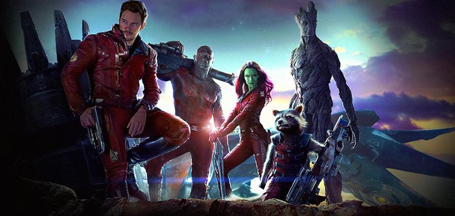 Chris Pratt, Dave Bautista, Zoe Saldana, Bradley Cooper şi Vin Diesel în Gardienii Galaxiei