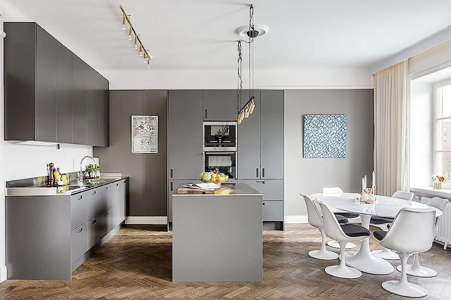 Paredes color gris perla for Cocinas grises