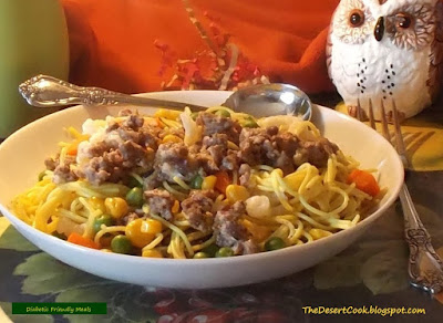 whole wheat pasta ground beef and veggies diabetic friendly meal photo by candy dorsey