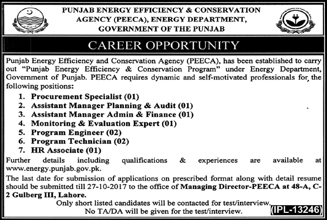 Jobs In Energy Department Govt Of The Punjab Lahore Oct 2017