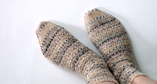 Hand Knit Wool Socks in Beige and Gray Self-Striping Yarn