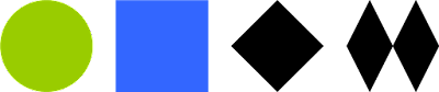Green circle, blue square, black diamond, and double black diamond