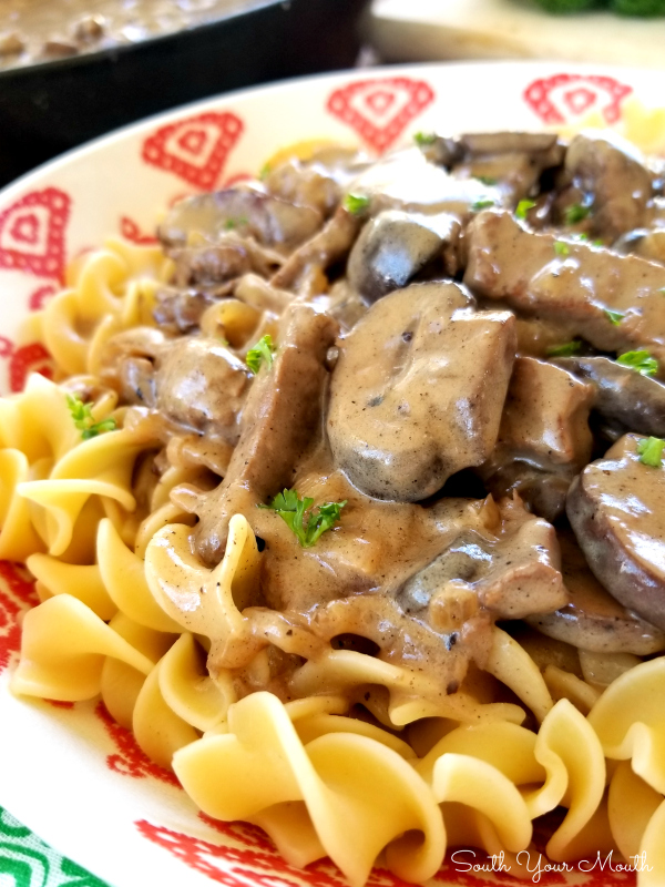An easy-to-follow recipe for classic Beef Stroganoff with tender strips of steak, sliced mushrooms and sauteed onions in a velvety sauce made with real sour cream.