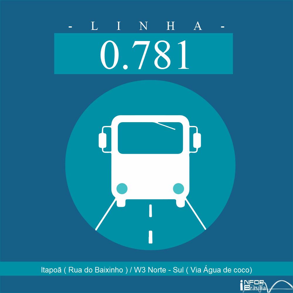 Horário de ônibus e itinerário 0.781 - Itapoã ( Rua do Baixinho ) / W3 Norte - Sul ( Via Água de coco)