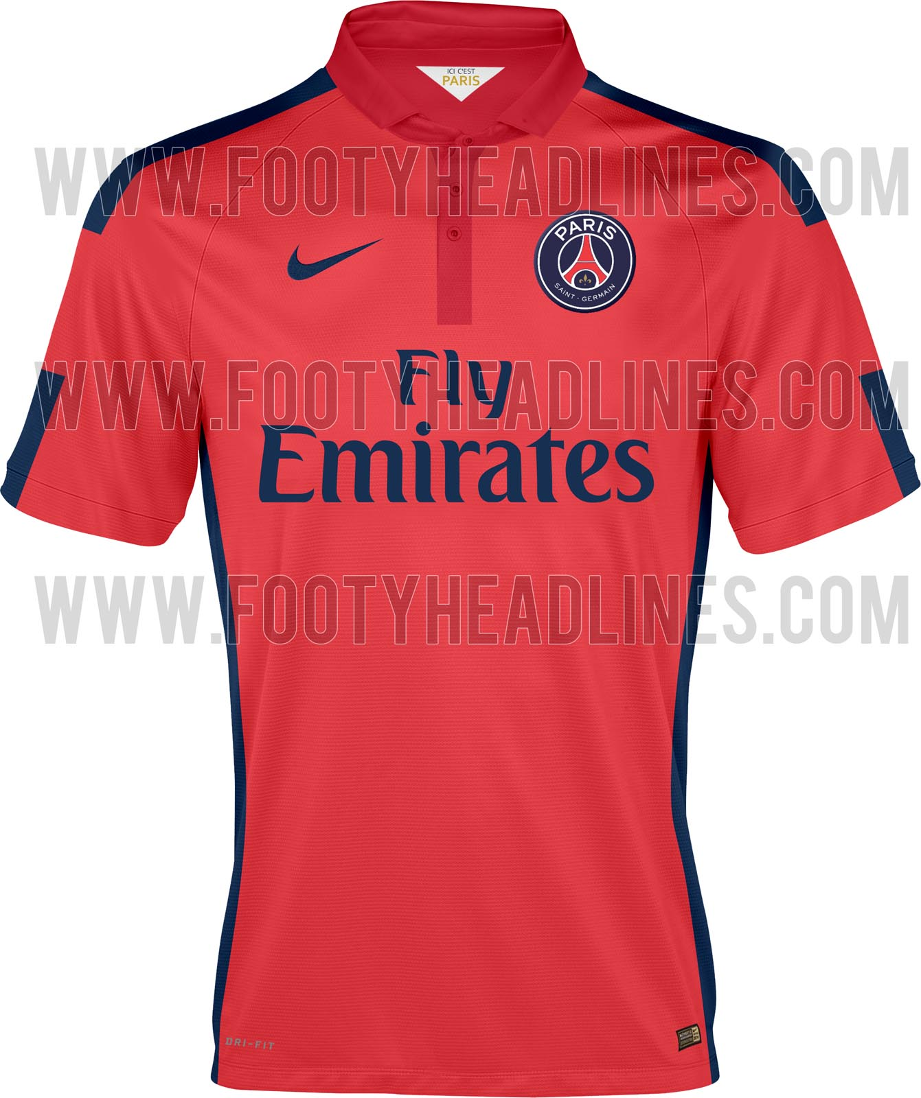 115f78816b8 The new Paris 2014-2015 Third Kit is mainly red with navy logos and a dark  red polo collar. Like the new Manchester United 14-15 Third Kit