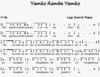 Not angka lagu E Yamko Rambe Yamko