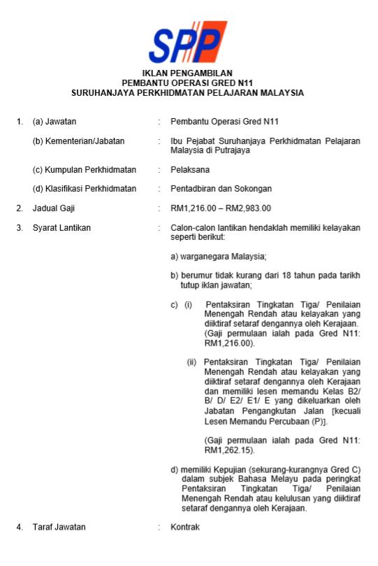 Jawatan Kosong Di Suruhanjaya Perkhidmatan Pelajaran Spp 28
