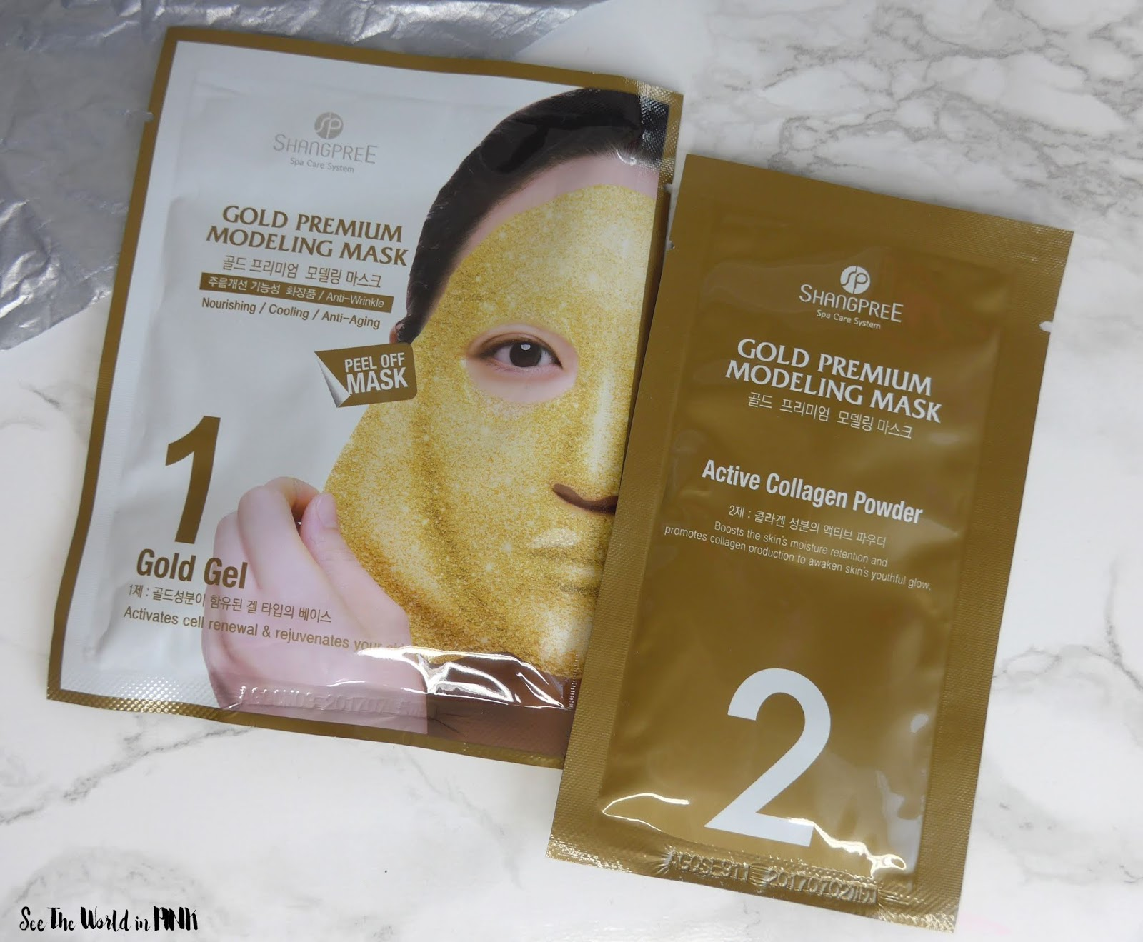 Skincare Sunday #CBBGetsSheetFaced Week Four Recap with Reviews - Shangpree Gold Premium Modeling Mask