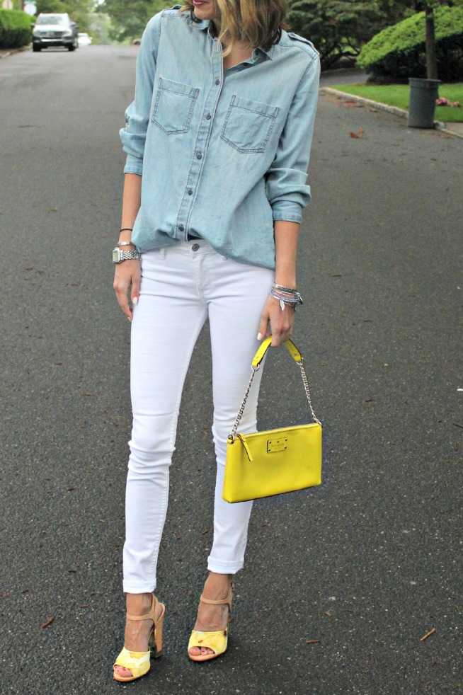 yellow accessories; kate spade clutch; sam edelman heels