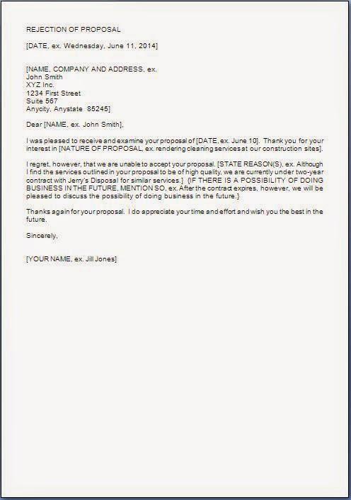 Proposal Rejection Letter Format