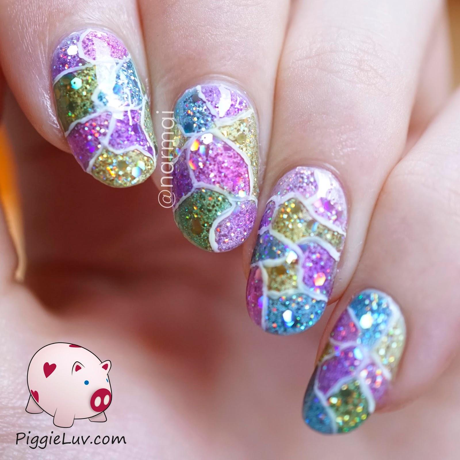 PiggieLuv: Cracked glitter nail art