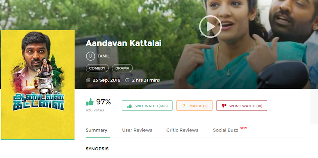 Aandavan Kattalai (2016) Full Tamil Movie 700MB HD Download
